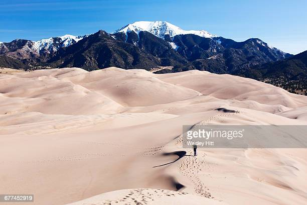 solo hiker on the great sand dunes of colorado - great sand dunes national park stock pictures, royalty-free photos & images
