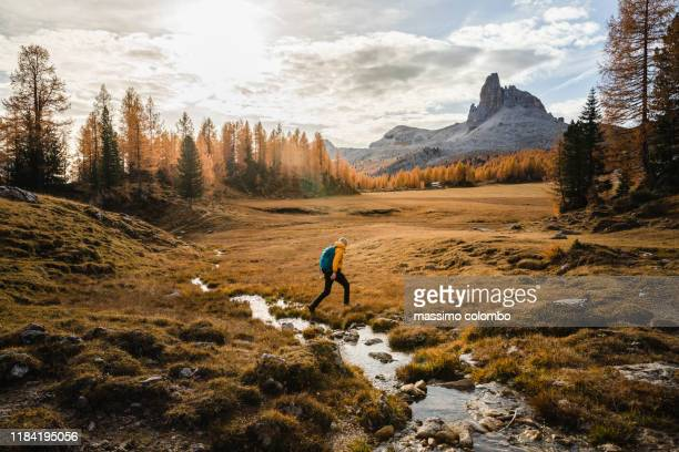 solo hiker walking on a high mountain plain - paisagem natureza - fotografias e filmes do acervo