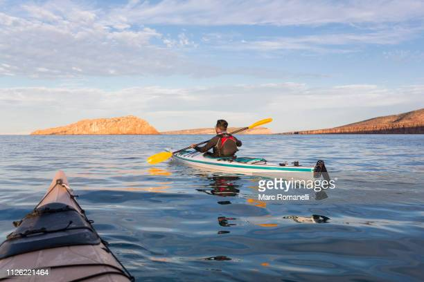 solo kayak on the sea of cortez, mexico - sea of cortez stock pictures, royalty-free photos & images