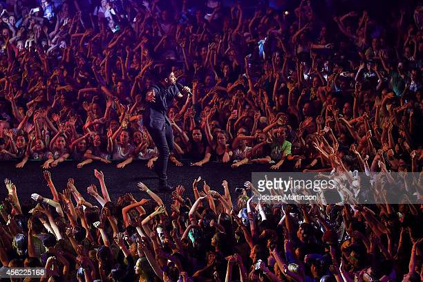 Solo Tohi of Justice Crew performs during the Nickelodeon Slimefest 2014 evening show at Sydney Olympic Park Sports Centre on September 26 2014 in...