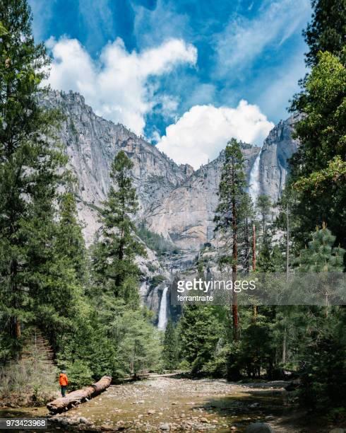 solo traveler at yosemite national park - yosemite nationalpark stock pictures, royalty-free photos & images