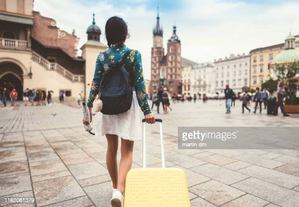 solo traveler in krakow - travel stock pictures, royalty-free photos & images