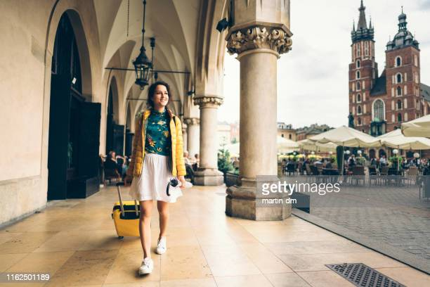solo traveler in krakow - krakow stock pictures, royalty-free photos & images