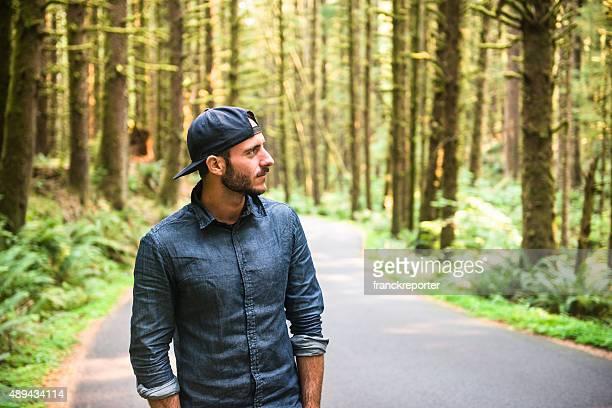 Solo traveler walking in the park - oregon