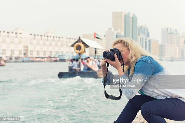 Solo traveller woman in old Dubai