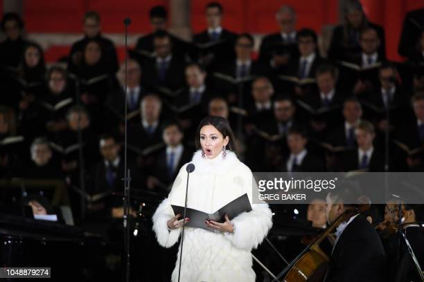 Soloist Aida Garifullina of Russia performs with the Shanghai Symphony Orchestra during a classical concert marking the 120th anniversary of the...