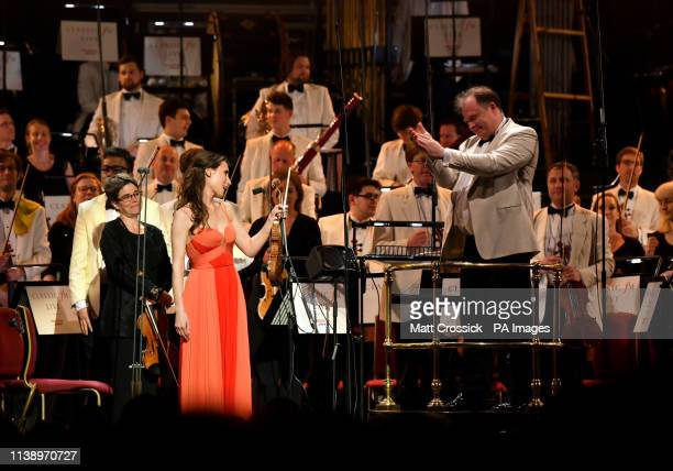 Soloist Jennifer Pike performs with The City of Birmingham Symphony Orchestra at Classic FM Live with Honda Jazz on stage at London's Royal Albert...