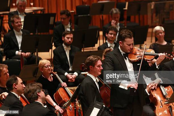 Soloist violinist Nikolaj Znaider plays an encore following the Beethoven Violin Concerto as Sir Antonio Pappano conducted the London Symphony...