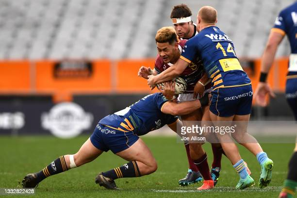 Solomon Alaimalo of Southland runs into the defence during the round one Bunnings NPC match between Otago and Southland at Forsyth Barr Stadium, on...