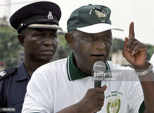 Solomon Berewa Vice President of Sierra Leone and leader of the Sierra Leone People's Party speaks 06 September 2007 at a meeting in Freetown on the...