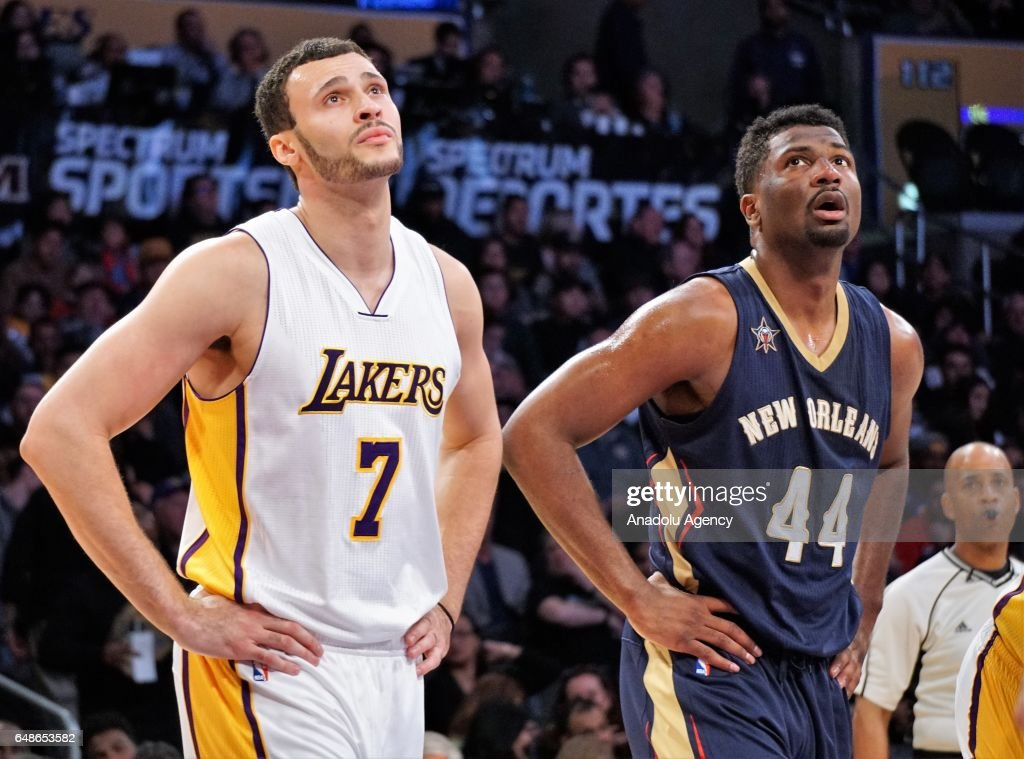 Solomon Hill (44) of New Orleans Pelicans and Larry Nance Jr. (7) of Los Angeles Lakers are seen during the NBA basketball match between Los Angeles Lakers and New Orleans Pelicans on March 5, 2017 at STAPLES Center in Los Angeles, California, United States.