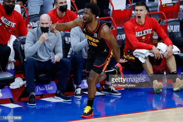 Solomon Hill of the Atlanta Hawks celebrates during the second quarter against the Philadelphia 76ers during Game One of the Eastern Conference...