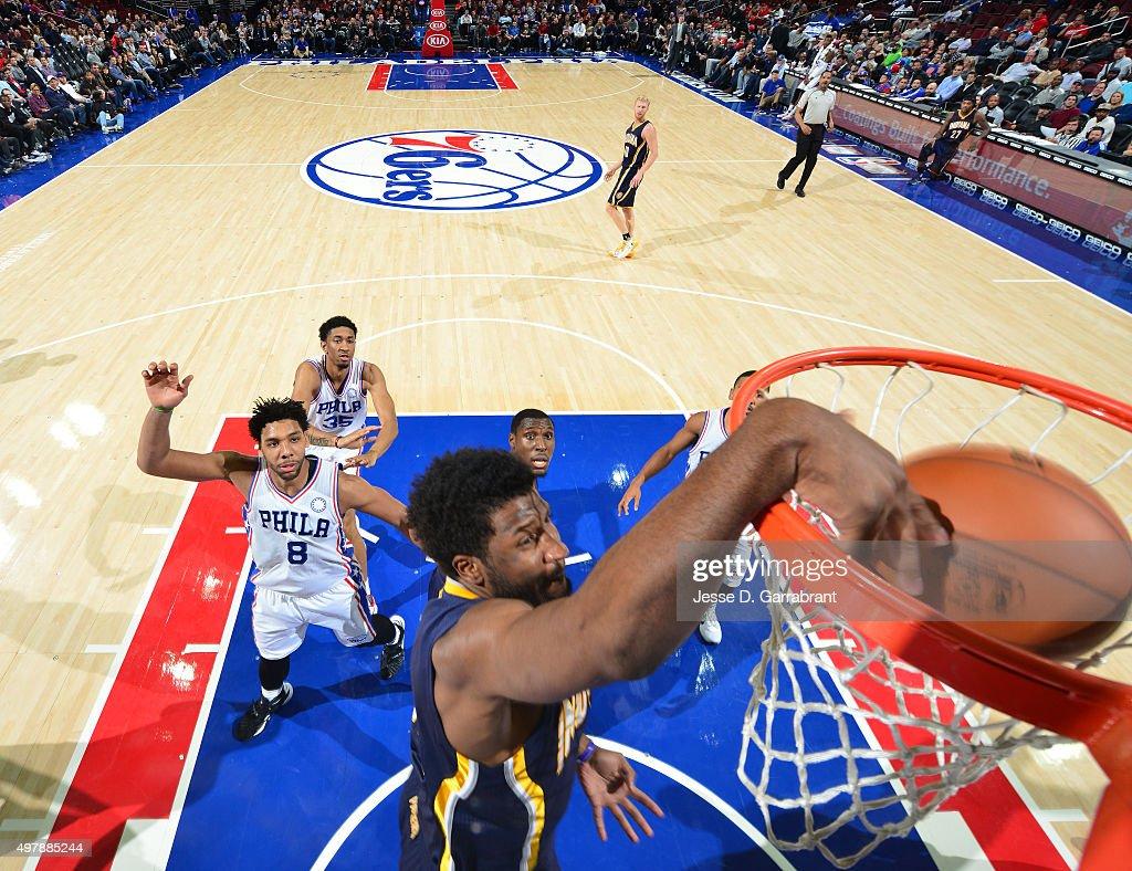 Solomon Hill #44 of the Indiana Pacers dunks the ball against the Philadelphia 76ers at Wells Fargo Center on November 18, 2015 in Philadelphia, Pennsylvania