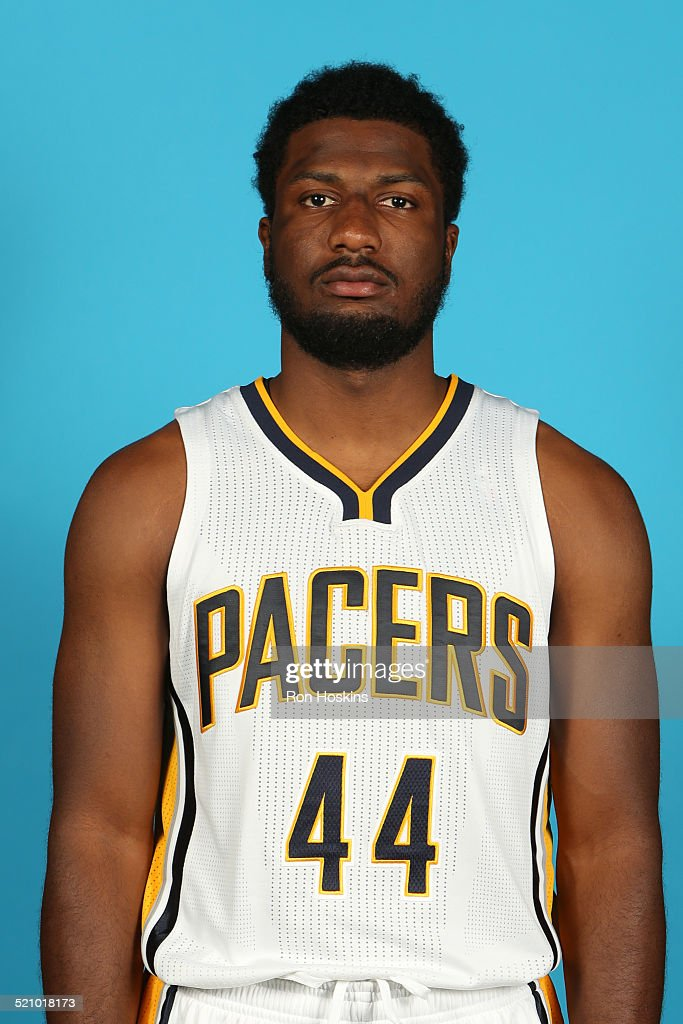Solomon Hill #44 of the Indiana Pacers during the Pacers media day at Bankers Life Fieldhouse on September 29, 2014 in Indianapolis, Indiana.