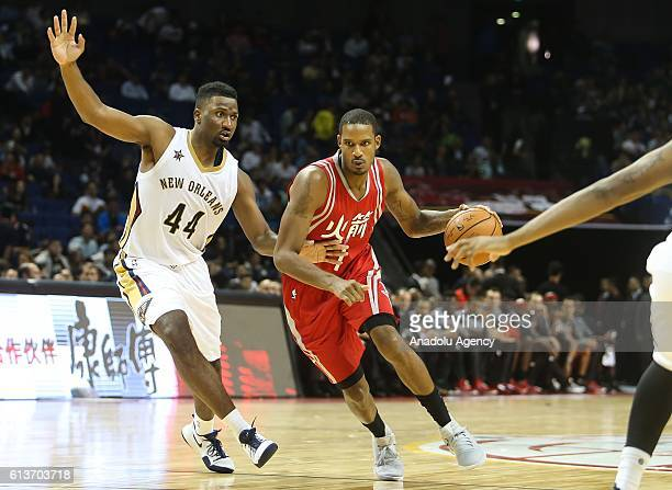 Solomon Hill#44 of New Orleans Pelicans in action against Trevor Ariza#1 of Houston Rockets during the 201617 NBA Global Game at the MercedesBenz...