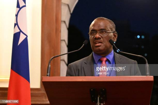 Solomon Islands' Foreign Minister Jeremiah Manele speaks during a press conference at the Taipei Guest House during his visit to Taipei on September...