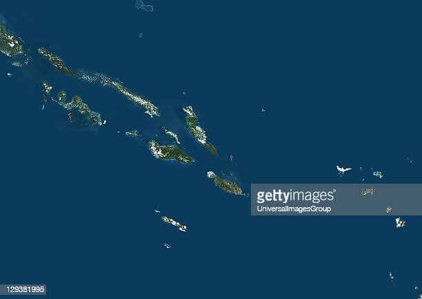 Solomon Islands true colour satellite image This image was compiled from data acquired by LANDSAT 7 satellite Solomon Islands True Colour Satellite...