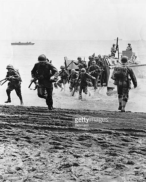 Solomon Islands-8/1942- Picture shows the Guadalcanal Landing that was followed by six months of fighting.