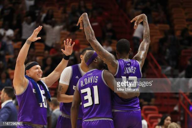 Solomon Jones of the Ghost Ballers celebrates after hitting a three pointer to win the game against Trilogy during week eight of the BIG3 three on...