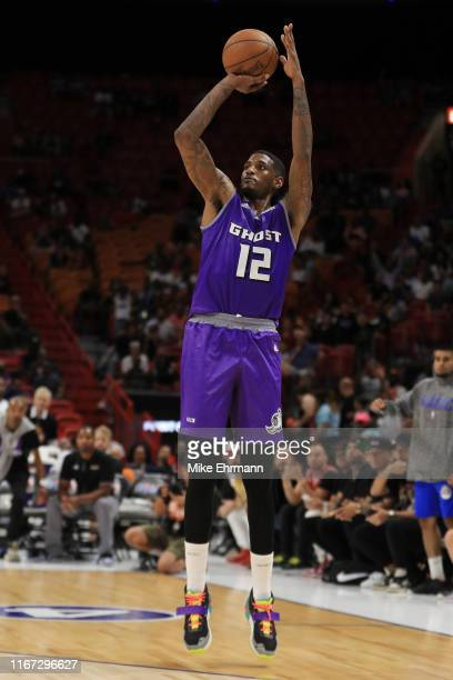 Solomon Jones of the Ghost Ballers shoots a three pointer against Trilogy during week eight of the BIG3 three on three basketball league at...