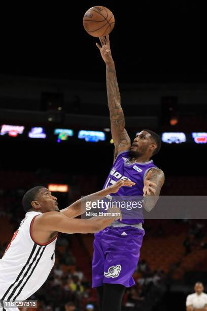 Solomon Jones of the Ghost Ballers shoots against Trilogy during week eight of the BIG3 three on three basketball league at AmericanAirlines Arena on...