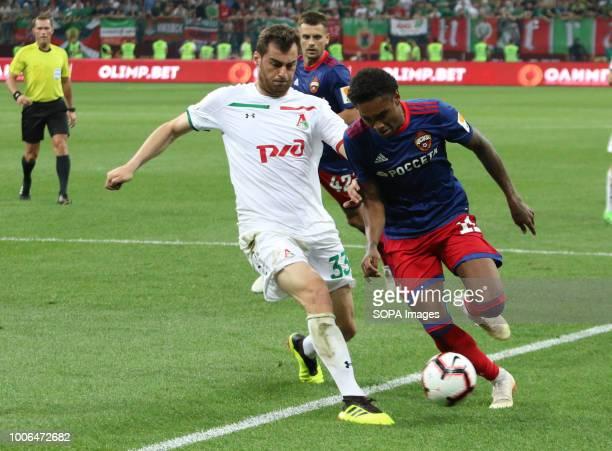 Solomon Kverkveliya of Lokomotive and Vitinho of CSKA seen during the match of the Olimp Super Cup of Russia CSKA moscow won the Olimp Super Cup of...
