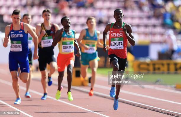 Solomon Lekuta of Kenya in action during heat 3 of the men's 800m heats on day four of The IAAF World U20 Championships on July 13 2018 in Tampere...