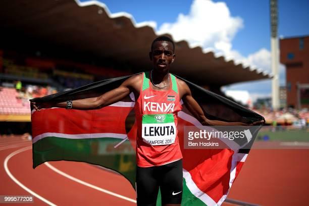 Solomon Leukta of Kenya celebrates winning gold in the final of the men's 800m on day six of The IAAF World U20 Championships on July 15 2018 in...