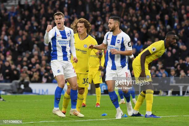 Solomon March of Brighton and Hove Albion celebrates after scoring his team's first goal during the Premier League match between Brighton Hove Albion...