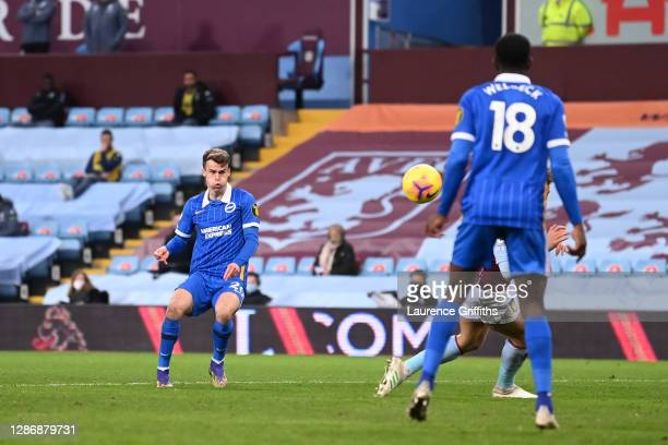 Solomon March of Brighton and Hove Albion scores his team's second goal during the Premier League match between Aston Villa and Brighton & Hove...