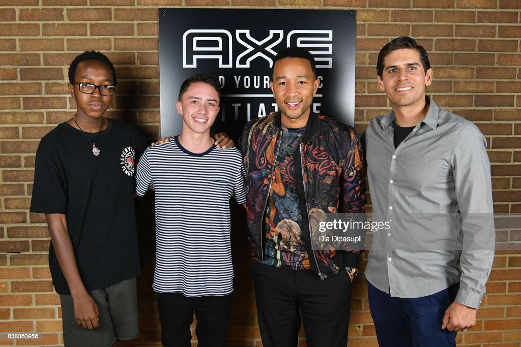 Solomon Mussing, Hunter Klugkist, John Legend, and Carlos Andrés Gómez at the announcement of the AXE Senior Orientation program on August 23, 2017 in New York City.
