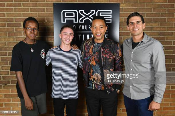 Solomon Mussing Hunter Klugkist John Legend and Carlos Andrés Gómez at the announcement of the AXE Senior Orientation program on August 23 2017 in...