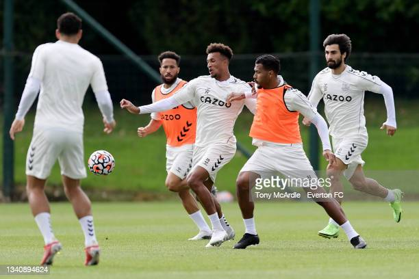 Solomon Rondon and Jean-Philippe Gbamin during the Everton Training Session at USM Finch Farm on September 16 2021 in Halewood, England.