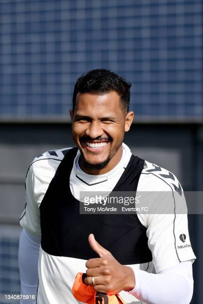 Solomon Rondon during the Everton Training Session at USM Finch Farm on September 16 2021 in Halewood, England.
