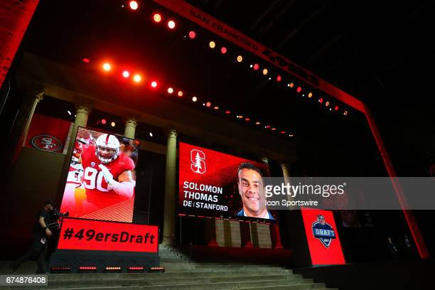 Solomon Thomas from Stanford select 3rd overall by the San Francisco 49ers in the first round of the 2017 NFL Draft at the NFL Draft Theater on April...