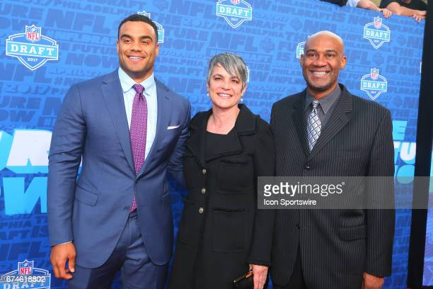 Solomon Thomas from Stanford with his mother Martha and father Chris on the Red Carpet outside of the NFL Draft Theater on April 27 2017 in...