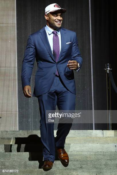 Solomon Thomas of Stanford reacts after being picked overall by the San Francisco 49ers during the first round of the 2017 NFL Draft at the...