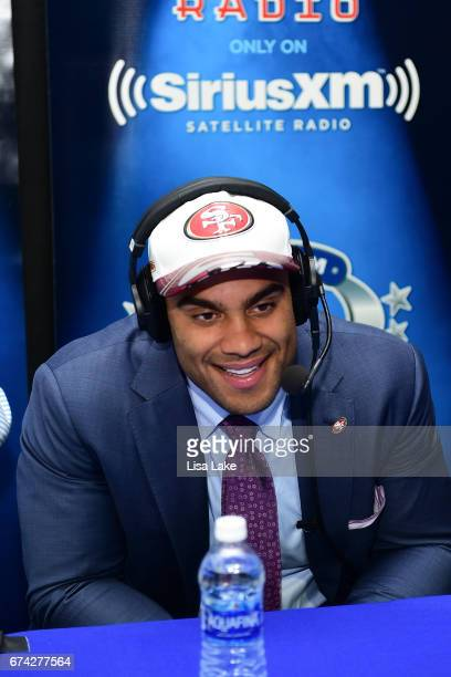 Solomon Thomas of Stanford visits the SiriusXM NFL Radio talkshow after being picked overall by the San Francisco 49ers during the first round of...