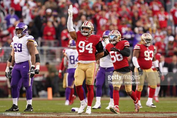 Solomon Thomas of the San Francisco 49ers celebrates a sack during the second half against the Minnesota Vikings during the NFC Divisional Round...