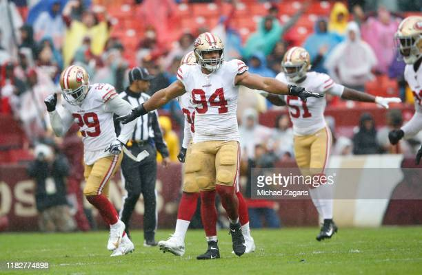 Solomon Thomas of the San Francisco 49ers celebrates on the field during the game against the Washington Redskins at FedExField on October 20 2019 in...