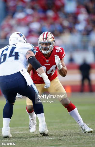 Solomon Thomas of the San Francisco 49ers defends during the game against the Tennessee Titans at Levi's Stadium on December 17 2017 in Santa Clara...