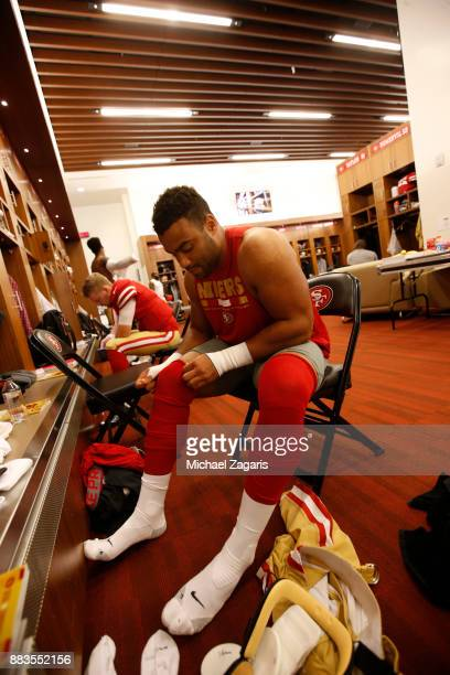 Solomon Thomas of the San Francisco 49ers gets dressed in the locker room prior to the game against the Seattle Seahawks at Levi's Stadium on...