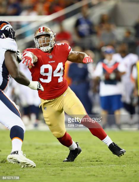 Solomon Thomas of the San Francisco 49ers in action against the Denver Broncos at Levi's Stadium on August 19 2017 in Santa Clara California