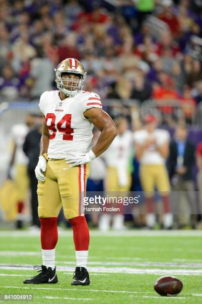Solomon Thomas of the San Francisco 49ers looks on in the preseason game against the Minnesota Vikings on August 27 2017 at US Bank Stadium in...