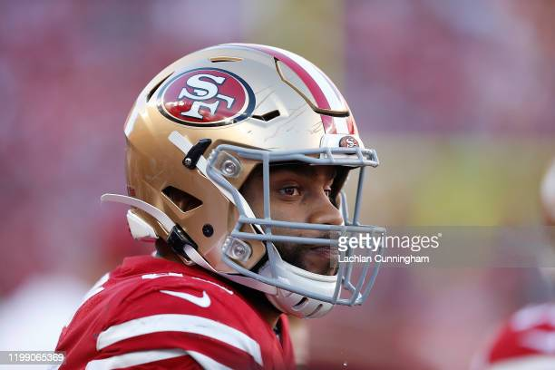 Solomon Thomas of the San Francisco 49ers looks on in the third quarter of the NFC Divisional Round Playoff game against the Minnesota Vikings at...