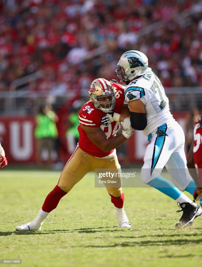 Solomon Thomas #94 of the San Francisco 49ers matches up against Matt Kalil #75 of the Carolina Panthers at Levi's Stadium on September 10, 2017 in Santa Clara, California.
