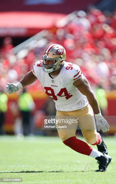 Solomon Thomas of the San Francisco 49ers rushes the quarterback during the game against the Kansas City Chiefs at Arrowhead Stadium on September 23...