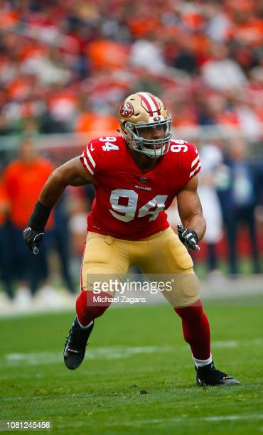Solomon Thomas of the San Francisco 49ers rushes the quarterback during the game against the Denver Broncos at Levi's Stadium on December 9 2018 in...