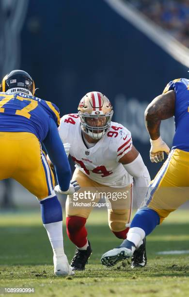 Solomon Thomas of the San Francisco 49ers rushes the quarterback during the game against the Los Angeles Rams at the LA Memorial Coliseum on December...