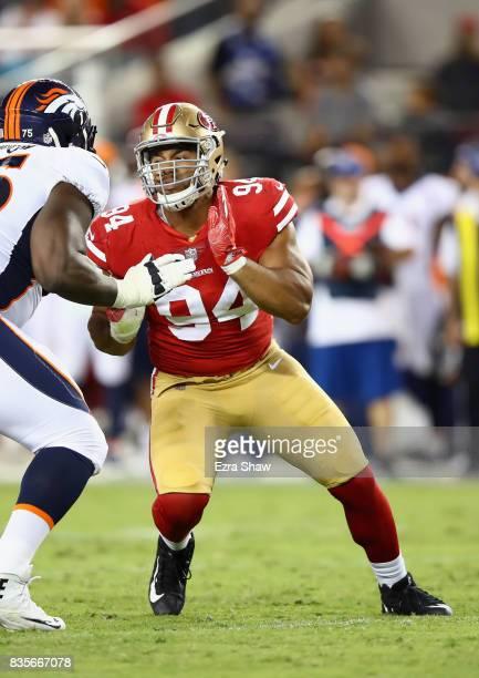 Solomon Thomas of the San Francisco 49ers rushes the quarterback against the Denver Broncos at Levi's Stadium on August 19 2017 in Santa Clara...